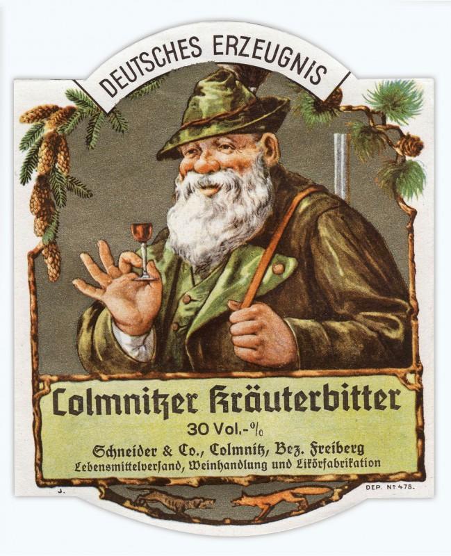 Etikett des Colmnitzer Kräuterbitter