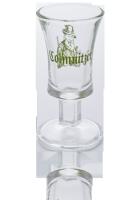 """Colmnitzer Schnapsglas 2 cl mit Jägerbild und Schriftzug """"Colmnitz"""" als grüner Aufdruck"""