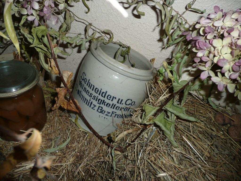Alter Senftopf umringt von Stroh und Pflanzen