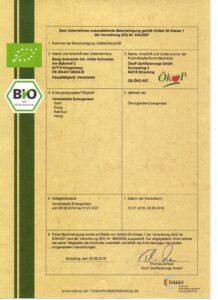 Bio-Zertifikat 2021