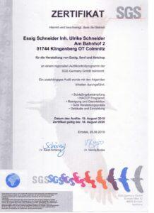 SGS Zertifikat 2020