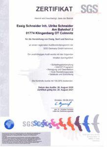 SGS Zertifikat 2021